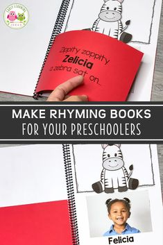 These silly rhyming books for preschoolers feature your kids' names and pictures. Your kids will beg to read these fun lift-the-flap books over and over. Share the class books during circle time or add them to your class library. Teach kids rhyming, phonological awareness, & literacy skills as they learn to recognize rhymes, & produce rhymes. The editable printables are easy to customize and assemble. Ideas for extension activities are included Word Family Activities, Rhyming Activities, Phonics Games, Language Activities, Writing Activities, Early Learning, Fun Learning, Teaching Kids, Class Books