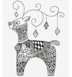 Renii au fost imaginati si desenati, asa ca il asteptam pe Mos Craciun . Zentangle Drawings, Doodles Zentangles, Zentangle Patterns, Doodle Drawings, Christmas Tree Zentangle, Christmas Doodles, Christmas Drawing, Christmas Colors, Christmas Art
