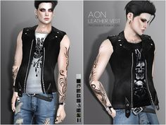 The Sims Resource: Aon Leather Vest by Pralinesims • Sims 4 Downloads