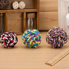 New Design Pets Rope Ball Toys Colorful Squeak Toys Wool Ball Toys 3 Size's Puppy Chew Toys