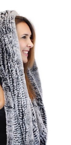 Knitted Rex Rabbit Fur Hood Scarf at David Appel Furs Beverly Hills