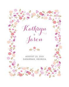 Sweet blooms wedding art print gift