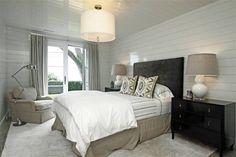 248 Hills Point - bedrooms - Jonathan Adler Meurice Pendant, black and beige bedroom, black headboard, ikat pillows, black and gray pillows,...