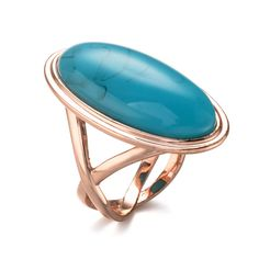 Fashion Gold Plated Ring With Blue Stone