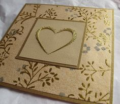 Gold wedding card with gold embroidered heart by SandrasCardShop, $6.50