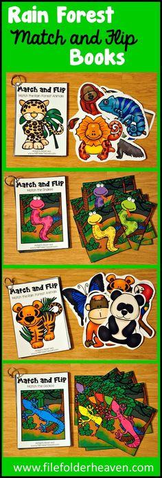 These Matching Activities: Rain Forest Match and Flip Books focus on basic matching skills. In these activities students work on matching picture to picture (exact match) and matching by color. There are four Match and Flip Books included in this download. Match the Rain Forest Animals I (Matching Picture to Picture) Match the Rain Forest Animals 2 (Matching Picture to Picture) Match the Snakes (Matching By Color) Match the Geckos (Matching By Color)