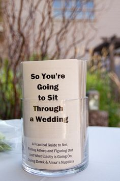 Really cute idea to put in info about bride and groom for people to read while waiting on wedding. funny facts and interesting things about the couple!