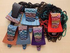 https://flic.kr/p/dt6FQN | Christmas presents: Pendants on ball chains. | Pixelated retro blend [Bettina Welker] canes.