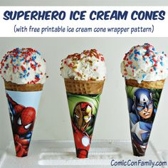 Having a superhero ice cream party? Make fun superhero ice cream cone wrappers with this free printable pattern that you can download.