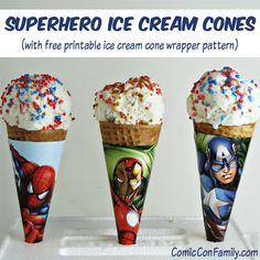 Superhero Ice Cream Cones (with free printable ice cream cone wrapper pattern)