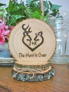Rustic Wedding Cake Topper Deer Hunting Wood Burned Romantic Customized by SweetHomeWoods on Etsy https://www.etsy.com/listing/226084098/rustic-wedding-cake-topper-deer-hunting