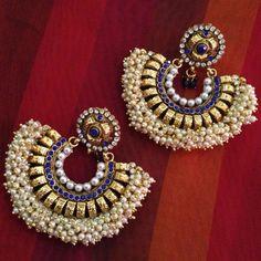 Scores of Chandni Pearls Polki Charming Stone Indian ADIVA Earring d209 ERT EHS #ADIVA