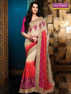 Multicolored designer saree with matching blouse
