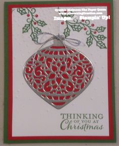 Cynthia McQueen-Stampin' Up! The Paper Queen www.aCrowningCreation.com Embellished Ornaments, Delicate Ornaments Thinlets