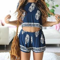 [ $25.00 ] Fashion Flower Print Shirt Top Tee Shorts Set Two-Piece