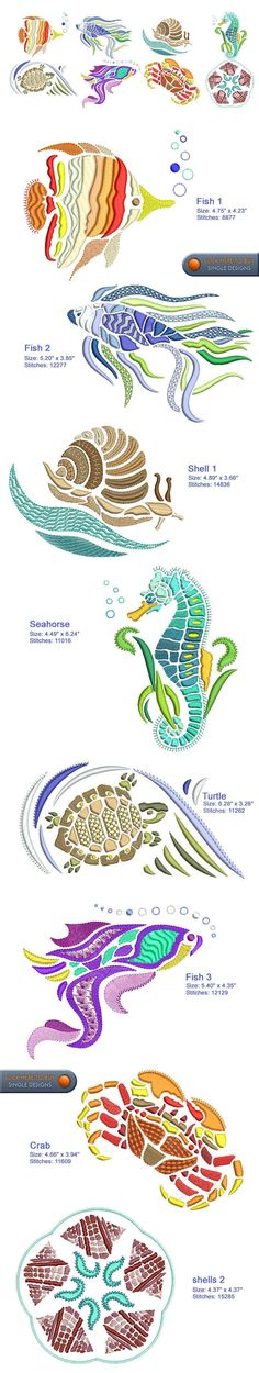 SEA LIFE Embroidery Designs Free Embroidery Design Patterns Applique: