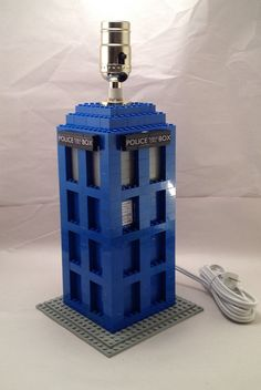 Blue LEGO Doctor Who Tardis themed nightstand / desk lamp on Etsy, $89.00