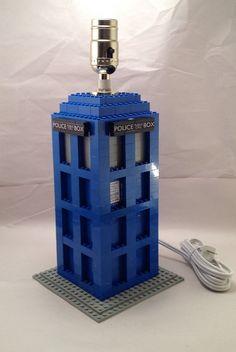 Blue LEGO Doctor Who Tardis themed nightstand / desk lamp