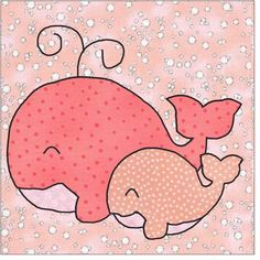 Mama and Baby Whales Applique Pattern Applique Pattern Quilt Free Applique Patterns, Baby Applique, Applique Templates, Sewing Appliques, Felt Patterns, Applique Quilts, Applique Designs, Baby Patterns, Embroidery Patterns