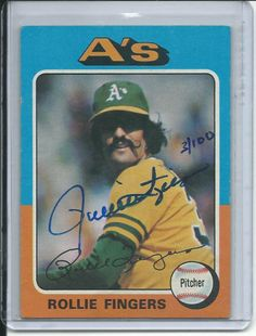 1975 topps Rollie Fingers autographed  card #21 Limited to 3/100 serial # 4461314