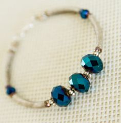 Blue Bracelet elegant jewelry elegant bracelet by YokoChic on Etsy Bridesmaid Presents, Beaded Necklace, Beaded Bracelets, Bridesmaid Bracelet, Elegant, Trending Outfits, Unique Jewelry, Handmade Gifts, Blue