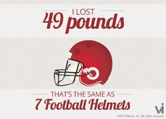 I lost 49 pounds! That is the same as 7 football helmets. Guess im done now, cuz I cant top 7 football helmets as the item!