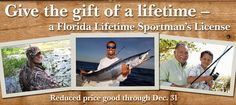 Now till Dec. 31, the Lifetime Sportsman's License can be purchased for just $500 for children and young adults ages 5-21. Gov. Rick Scott in mid-November signed an executive order authorizing the FWC to make this temporary fee reduction. See the links below to shop for your gifts now!   2014 holiday deal on the Lifetime Sportsman's License: http://myfwc.com/license/recreational/lifetime-licenses/  Full story: http://myfwc.com/news/news-releases/2014/november/25/gifts-support-wildlife/
