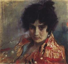 Valentin Serov (Russian 1865–1911) [Impressionism, Realism, Peredvizhniki, Portraits] Portrait of an Unknown, 1895. Tretyakov Gallery, Moscow, Russia.