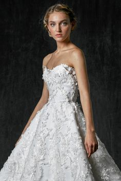 sareh nouri fall 2017 bridal strapless sweetheart neckline full embellishment floral embroidery below the knee tealength pretty romantic short wedding dress (olivia) zv