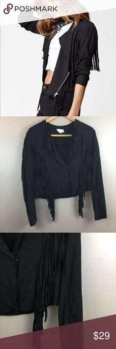 Fringe black jacket size large In excellent use condition l.a heart Jackets & Coats