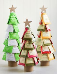 Christmas Tea Trees | Thirsty For Tea. Fill a small round box with rice, then attach a foam cone. Pin teabags to foam cone.