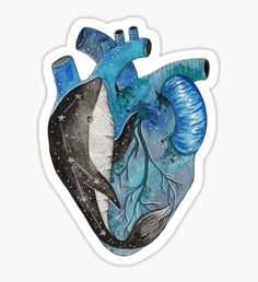 Blue human heart with a whale inside - Pegatina Heart Images, Human Heart, Journal Stickers, Sticker Paper, Sticker Design, Whale, Bubbles, Watercolor, Artwork