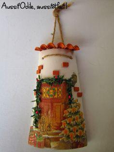 Tuile décorée avec la technique du collage de serviette en papier