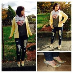 My friend and I were going through her great grandmothers old clothes and I just had to snatch up this vintage yellow blazer! #vintagelove #ootd #outfitpic #WIW. #vintage #yellow #wool #blazer, #JoesJeans, #CharmingCharlies #scarf, vintage #snakeskin #StuartWeitzman #shoes. #VintageAndModernMix #HowToRockVintage #JeansAndATee #trends #falltrends #fall #fashion #fashionista #instafashion #NoFilter #trustintricia #WardrobeConsultant #FashionStylist #PersonalStylist