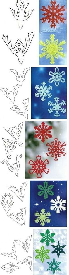 Tutorial to make beautiful snowflakes, paper. Snowflake Template, Snowflake Pattern, Paper Snowflakes, Paper Stars, Diy Paper, Paper Crafts, Origami And Kirigami, Snow Flakes Diy, Navidad Diy