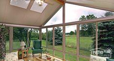 Three season sunroom with a sandstone aluminum frame with gable roof. #homeimprovement #sunroom