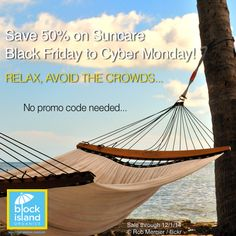 #Save 50% now on all #suncare products for #BlackFriday through #CyberMonday.  Relax, avoid the crowds, #savings are just a click away!