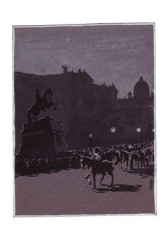 Ernst Kutzer: Nächtliche Überstellung des Thronfolgerpaares über den Heldenplatz-Guache 1916