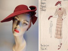 Dipped Low Across Her Eyes Vintage 1930s Dark Fuchsia 1930s Hats 94708cdcc0bb