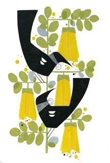 Two tuis (Kowhai) Print by Holly Roach Zwei tuis (Kowhai) Posterdruck von Holly Roach Bird Graphic, Nz Art, Art Folder, Kiwiana, Mid Century Art, Canadian Artists, Diy Arts And Crafts, Bird Art, Online Art
