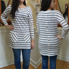 This Button Back Tunic is PERFECT to wear over leggings with boots for a fab look! -- Spring Summer Fall Winter Fashion. www.psiloveyoumoreboutique.com