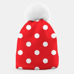 Winter Beanie RED WITH DOTS WHITE Design Shop, Unique Image, Beanies, Dots, Live, Stylish, Winter, Creative, Red