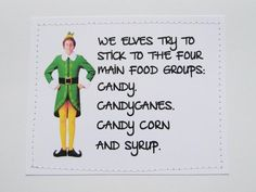 Funny Elf quote card Four main food groups by sewdandee on Etsy, $6.00