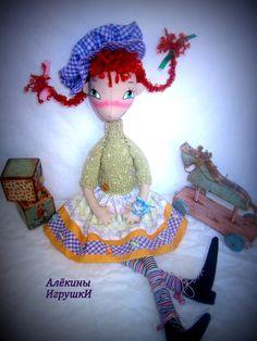 Пеппи Длинный чулок-текстильная каркасная кукла,рост 60см