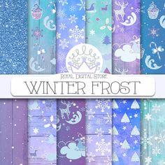Christmas digital paper frozen winter watercolor christmas | Etsy #christmas #winter #frost #blue #purple #snow #snowfall #snowflakes #glitter #noel #printables #etsy #scrapbooking #digitaldownload
