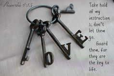 Proverbs 4:13 Take hold of my instructions; don't let them go.      Guard them, for they are the key to life.