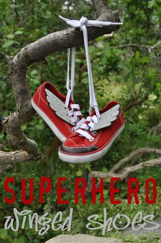 I Am Momma - Hear Me Roar: Superhero Winged Shoes - Great idea as part of a Super Hero Party Favor!!