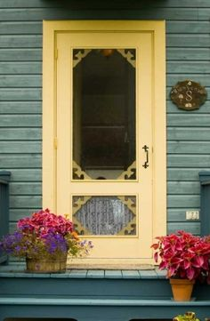 Porch with old fashioned spring door.