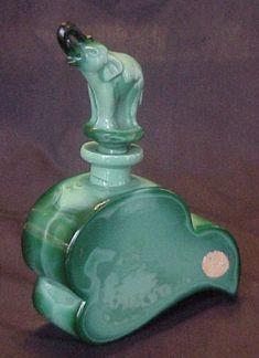 RARE 3D Malachite ELEPHANT Czech Art Deco Ingrid Glass Perfume Bottle Schlevogt by cristina