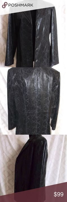 "Vintage ""Adler"" Snake print leather Jacket L Vintage ""Adler"" Snake print black leather Jacket L Details:  Label: Adler Collection  L Lapels Long Sleeve  Four buttons Shell 100% Leather  Lining 50% Nylon 50% Acetate Pre Owned  Excellent condition, no marks, defects..   Professionally Leather Clean Only  Feel free to send any questions you may have  All clothing and accessories from clean non smoking home  THANK YOU for visiting my closet! Adler Collection Jackets & Coats Blazers"